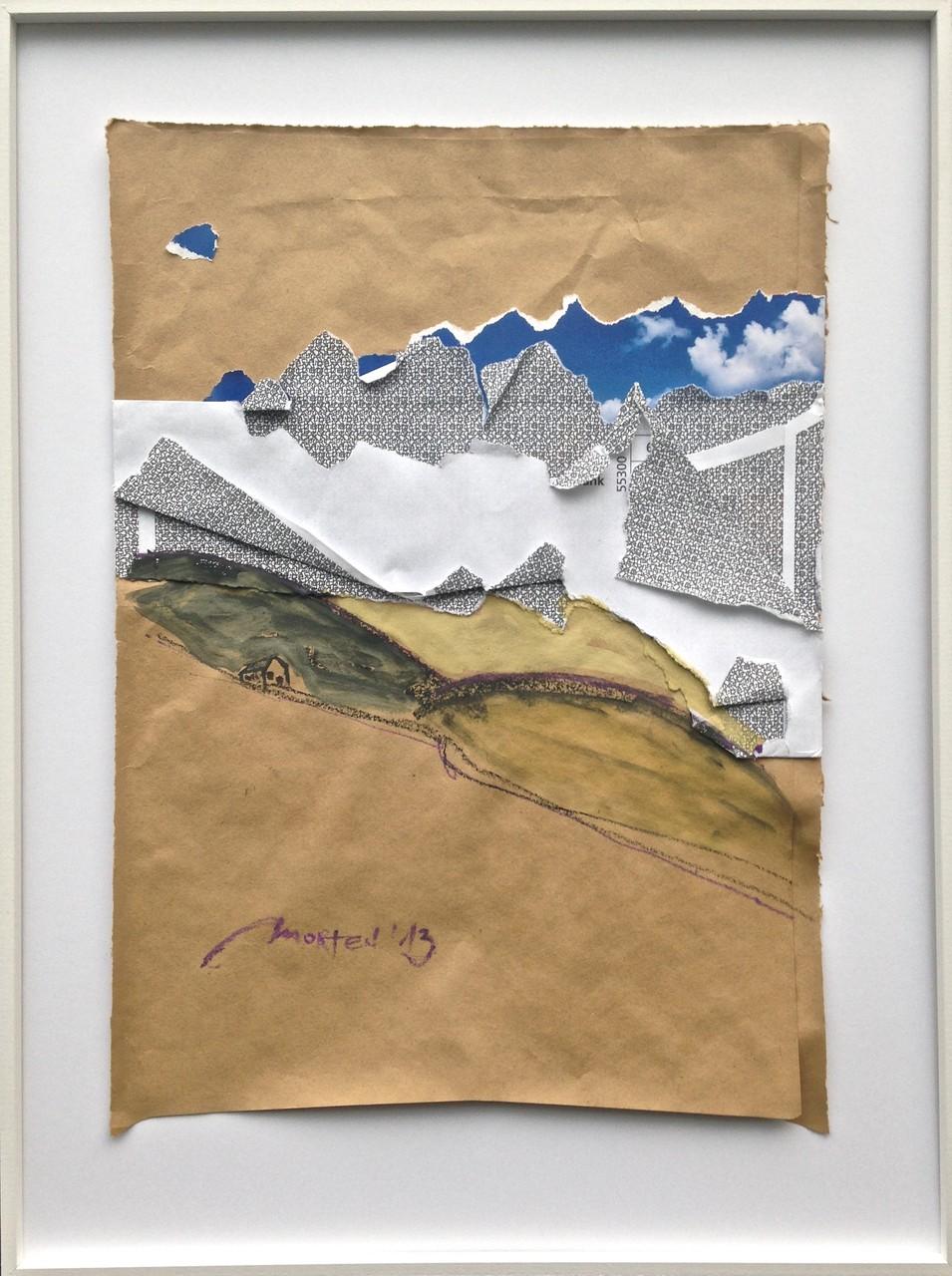 HAUS AM HANG, 2013, Johannes Morten, 21 x 29,7 cm, Acryl, Graphit, Papier und Druck auf Umschlag