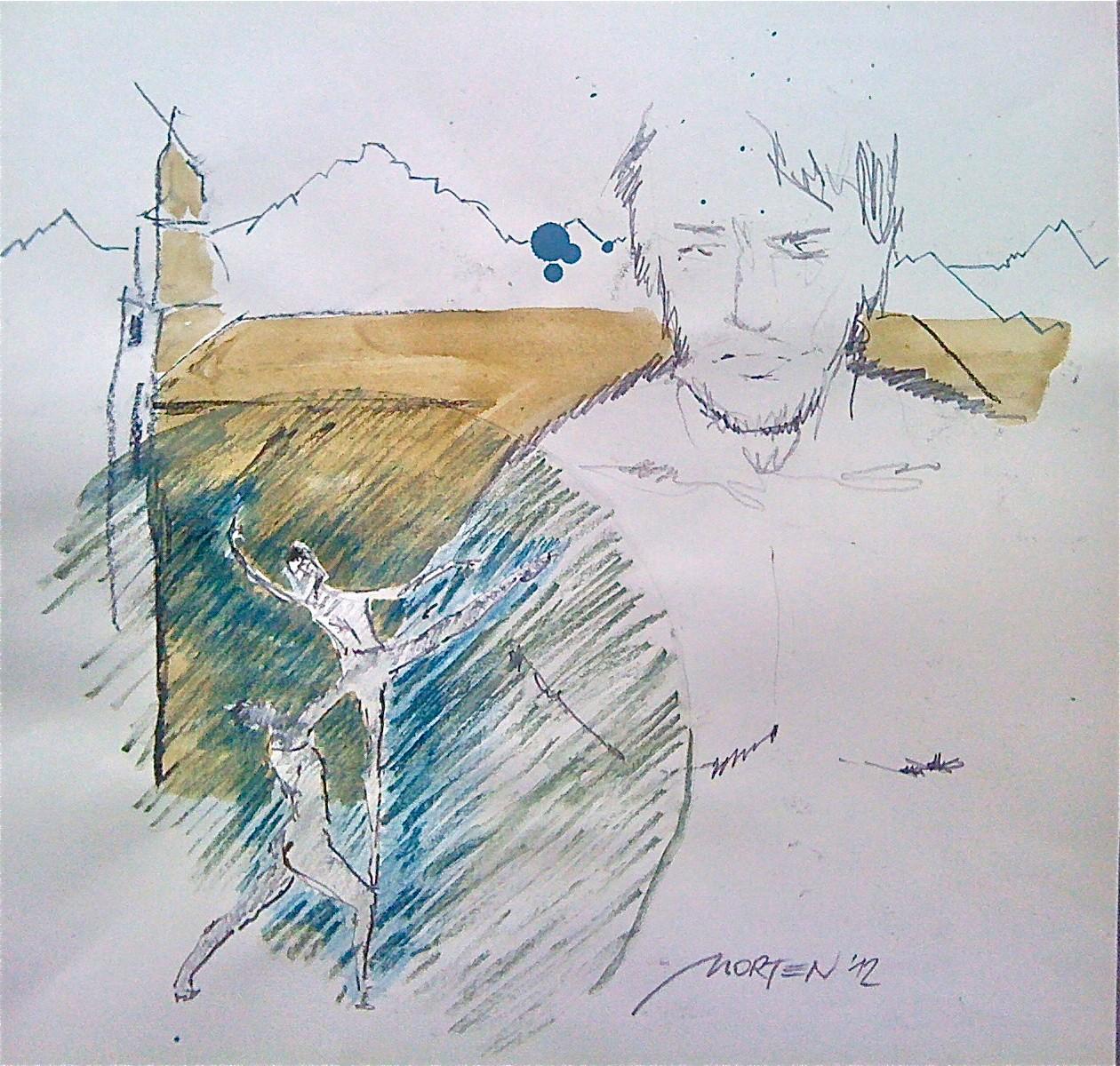 GIACOMETTIs BEWEGUNG, 2012, Johannes Morten, 40 x 40 cm, Acryl, Graphit und Ölkreide auf Pappe