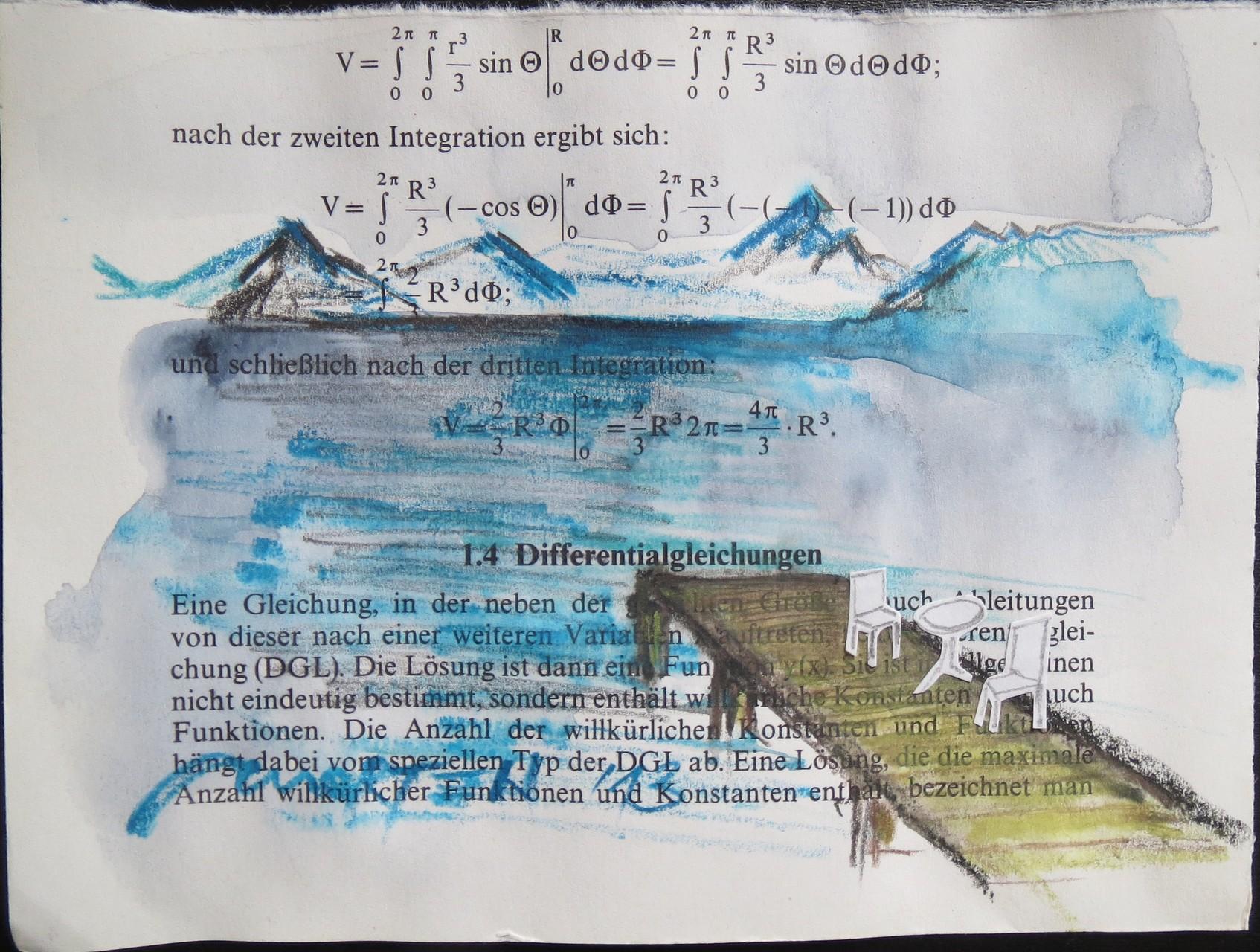 DIFFERENTIAL, 2013, Johannes Morten, 10,5 x 14,8 cm, Graphit, Acryl, Aquarell, Papier auf Buchseite