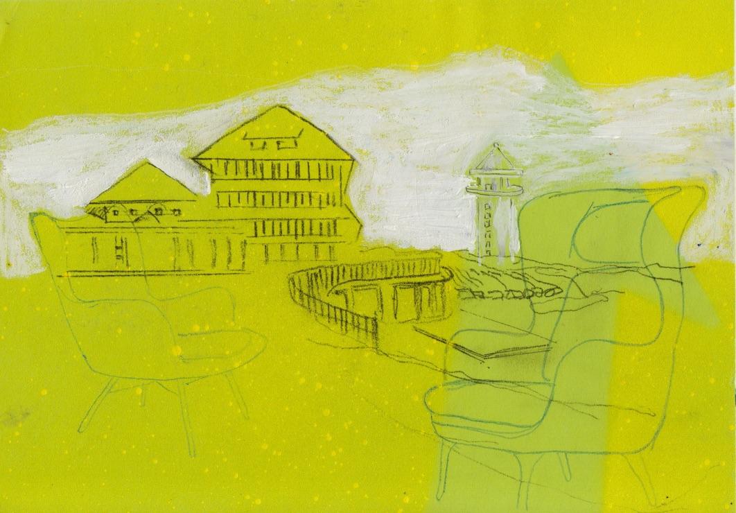 Zyklus: Stadt, Land Raum Nr. 15, Mischtechnik, 10,5x14,8cm, 2016