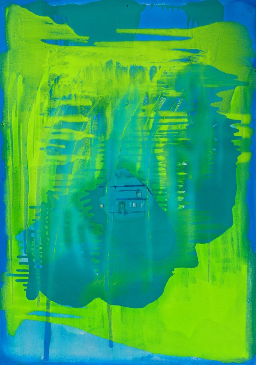 SCHWARZWALD - HAUS AM SEE, 2015, Johannes Morten, 70 x 100 cm, Öl auf Finnpappe