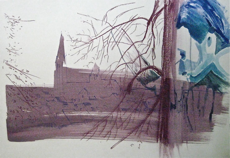 FREIBURG BETRACHTEN NO. 2, 2012, Johannes Morten,  70x100 cm, Aquarell, Acryl und Ölkreide auf Finnpappe