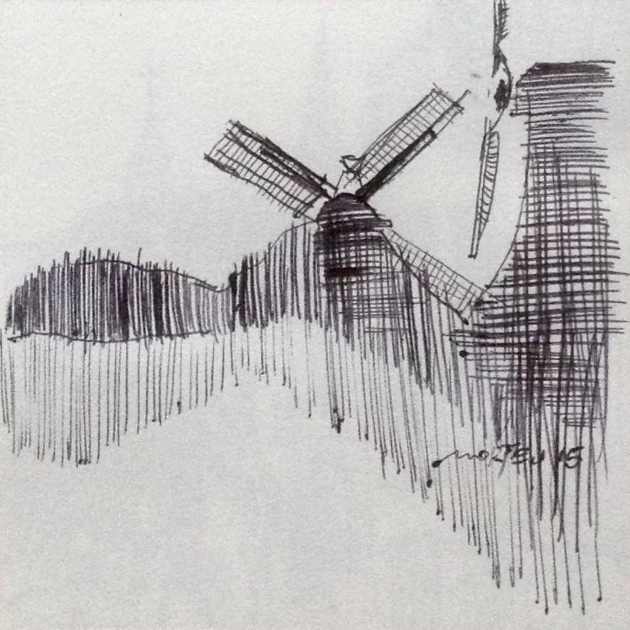 Greetsiel Zyklus: Zwillingsmühlen, 15x21cm, 2015