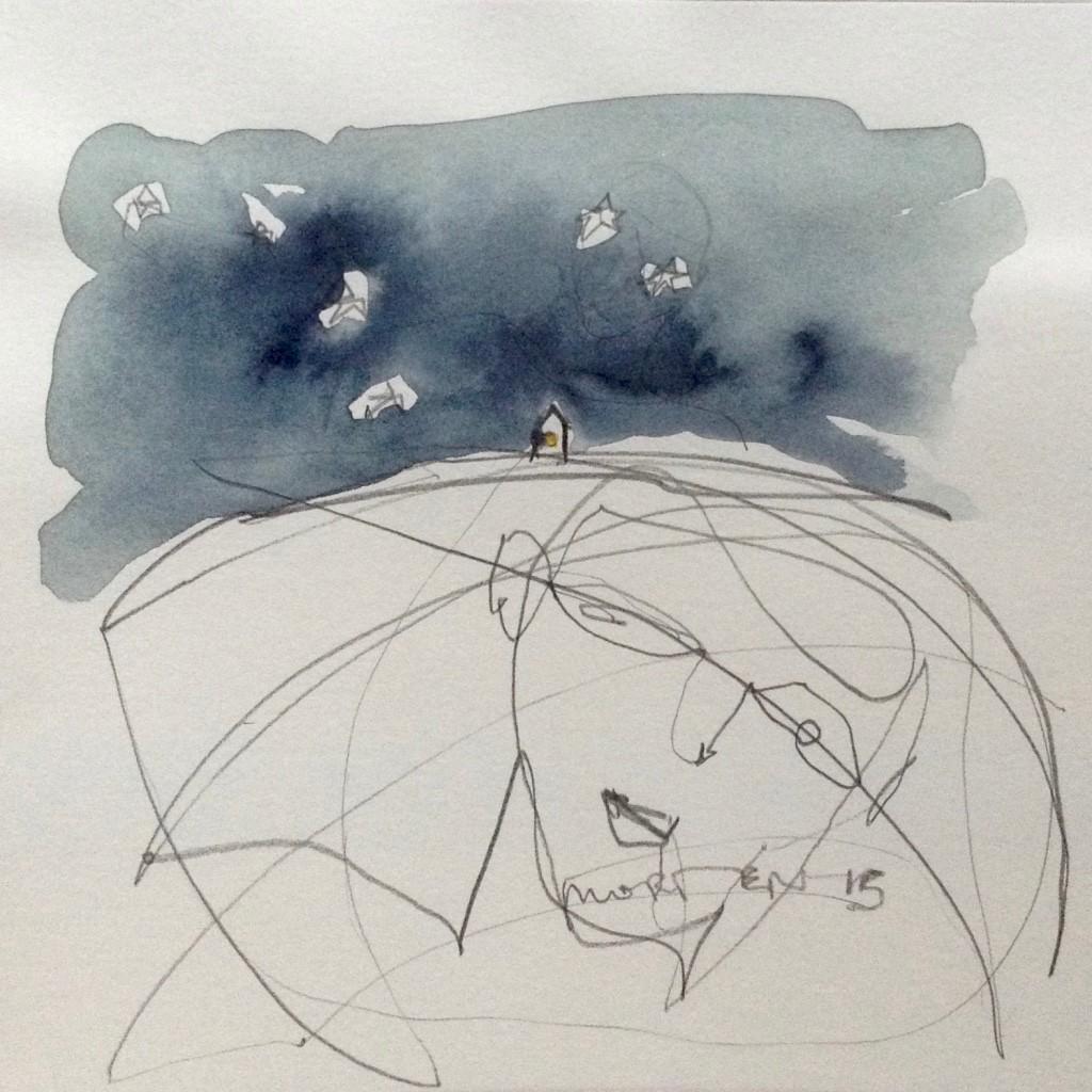 AUS DEM UMKREIS: NÄCHTE - RAINER M. RILKE, 2015, Johannes Morten, 20 x 20 cm, Graphit und Aquarell auf Papier