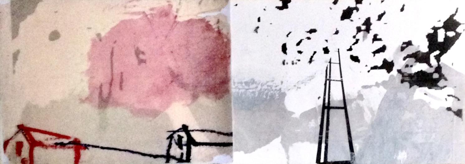 Raum: Herberge, Himmel und Unendlichkeit, Mischtechnik, 14,85 x 42 cm, 2019