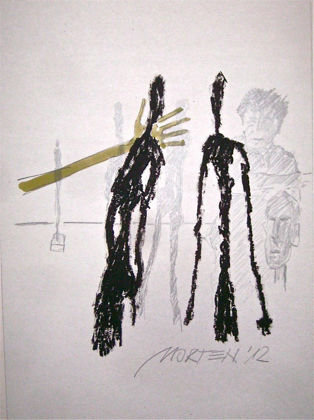 Giacometti im Atelier, Mischtechnik,  50x70cm, 2012