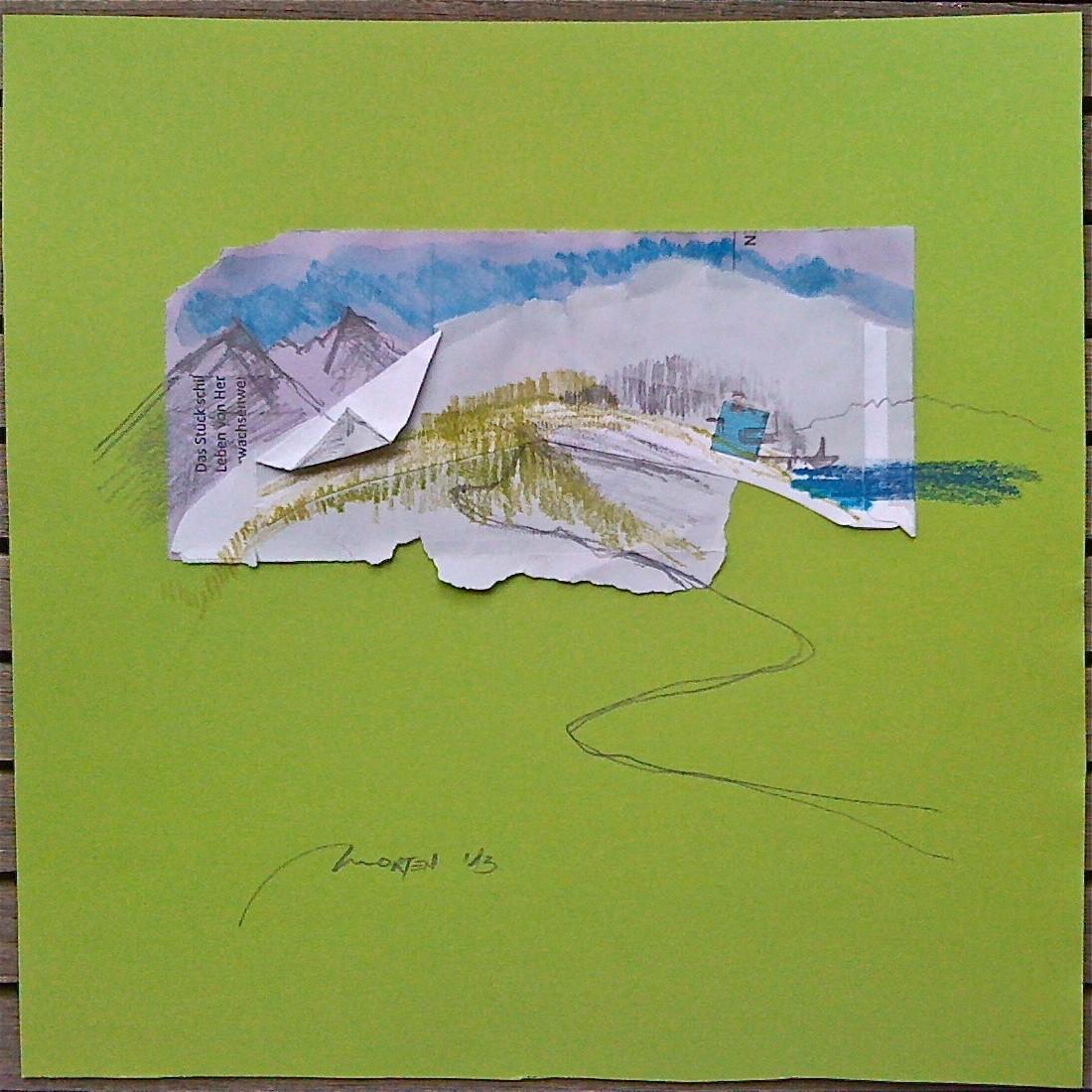 HAUS AM BOOT, 2013, Johannes Morten, 25 x 25 cm, Graphit, Aquarell Papier und Pappe
