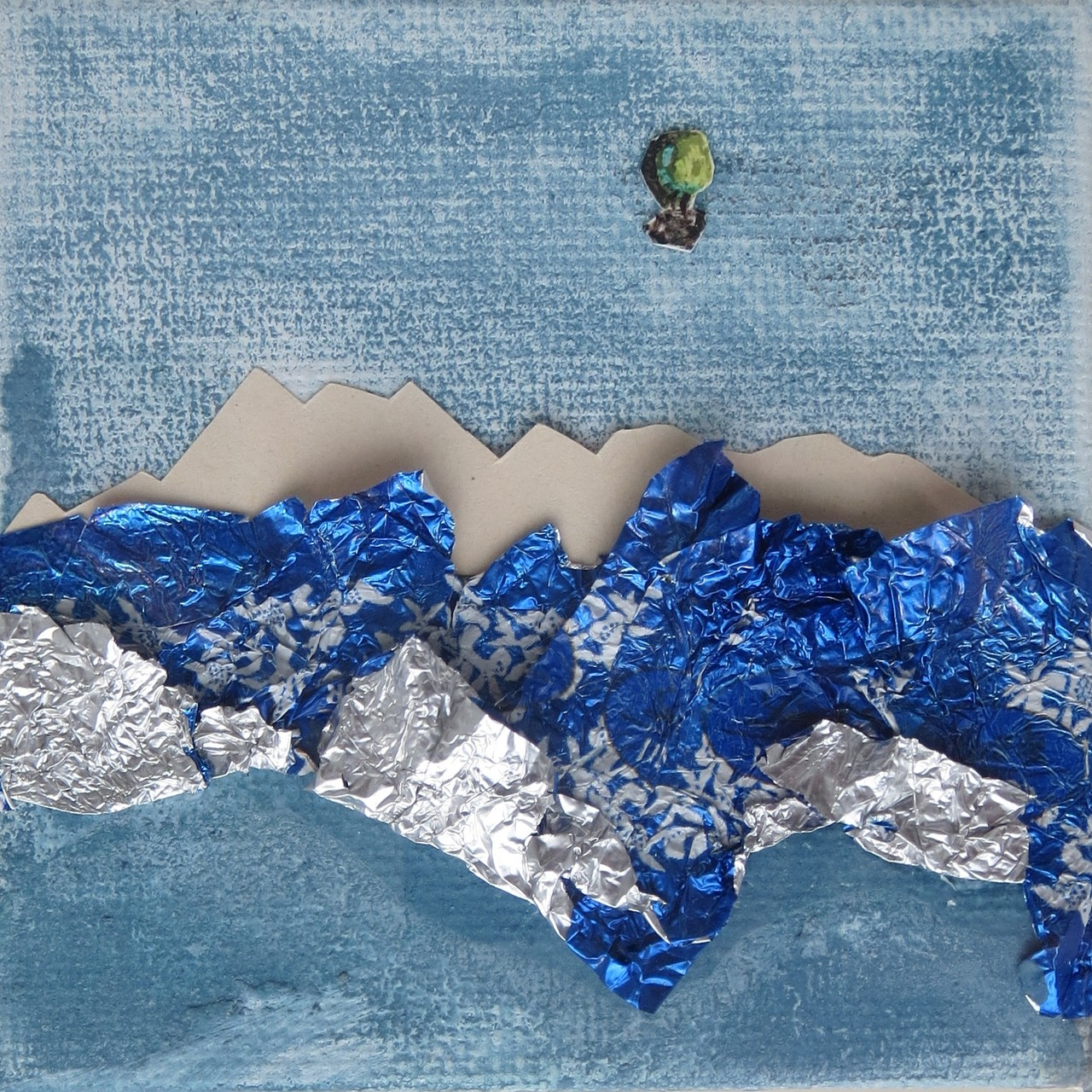 BALLONFAHRT, 2013, Johannes Morten, 10 x 10 cm, Acryl, Papier, Aquarell, Papier und Aluminium auf Canvas