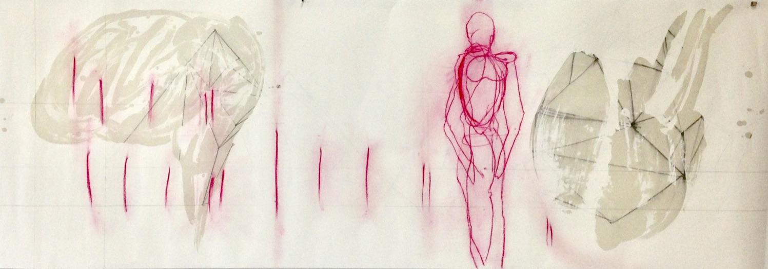 """""""Es ist was es ist, sagt die Liebe"""", Nr.04, Mischtechnik, 70 x 198 cm, 2019"""