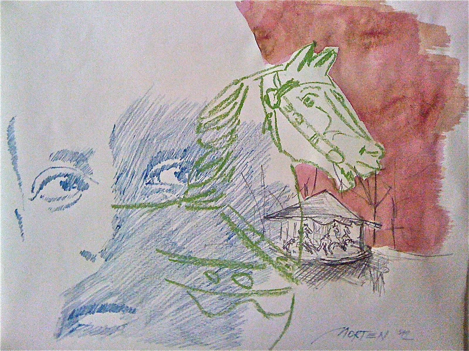 DAS KARUSSELL - RAINER MARIA RILKE, 2012, Johannes Morten,  50x70 cm, Graphit, Aquarell und Acryl auf Büttenpapier