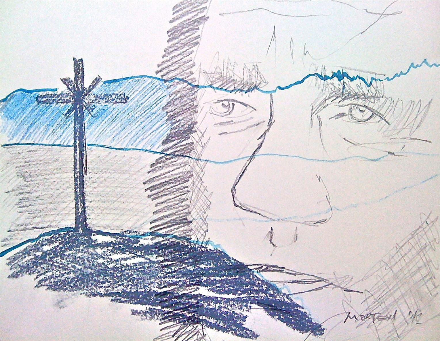 ÜBER DEN DINGEN, 2012, Johannes Morten, 40 x 40 cm, Graphit, Acryl und Ölkreide auf Alsterwerkdruck Papier