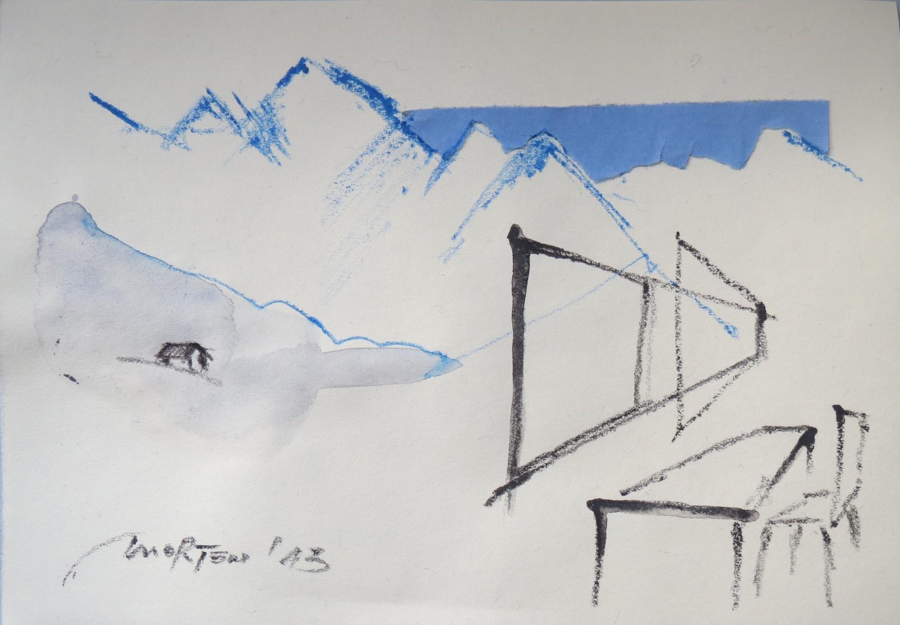 O. T. ( HAUS IN DEN BERGEN), 2013, Johannes Morten, 10,5 x 14,8 cm, Acryl, Aquarell und Pappe auf Papier
