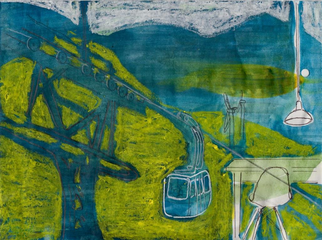 SCHAUE ÜBER´s LAND, 2016, Johannes Morten, 14,8x21 cm, Graphit, Acryl und Ölkreide auf Papier