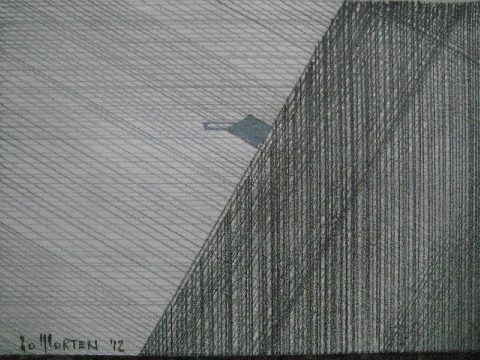 HAUS AM HANG, 2011, Johannes Morten, 10,5 x 14,8 cm, Aquarell und Graphit auf Papier