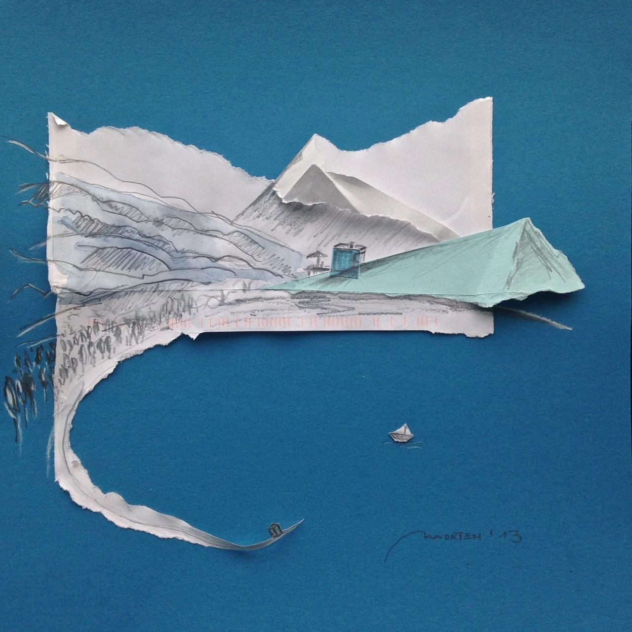 BERG UND SEE, 2013, Johannes Morten, 25 x 25 cm, Graphit, Aquarell Papier und Pappe
