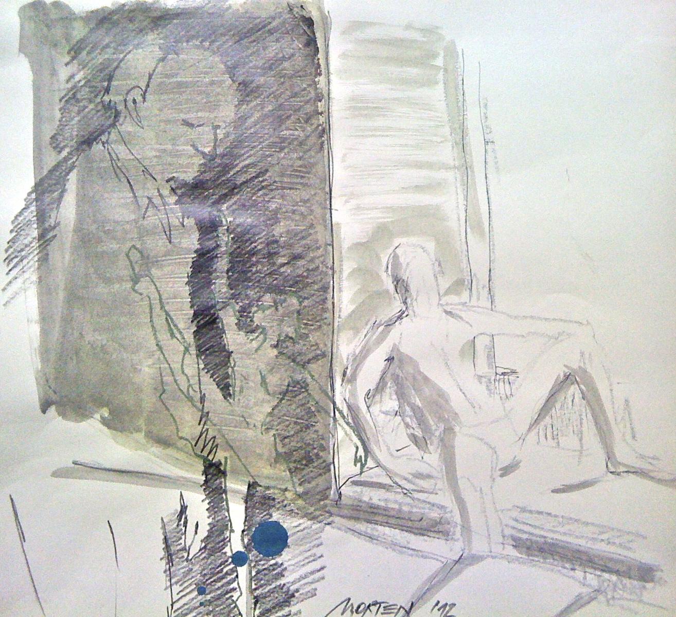 Betrachtet Zyklus: Die Zeit mit Nurejew Nr. 02, Mischtechnik, 40x40cm, 2012