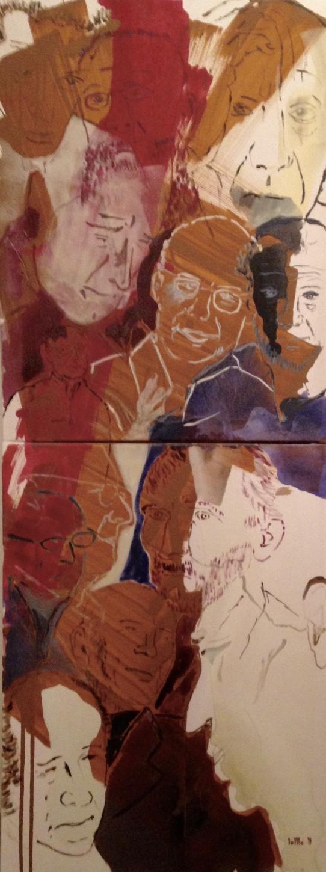 DIE ZWÖLF UND DER EINE, 2011, Johannes Morten, 50 x 140 cm, Acryl auf Canvas