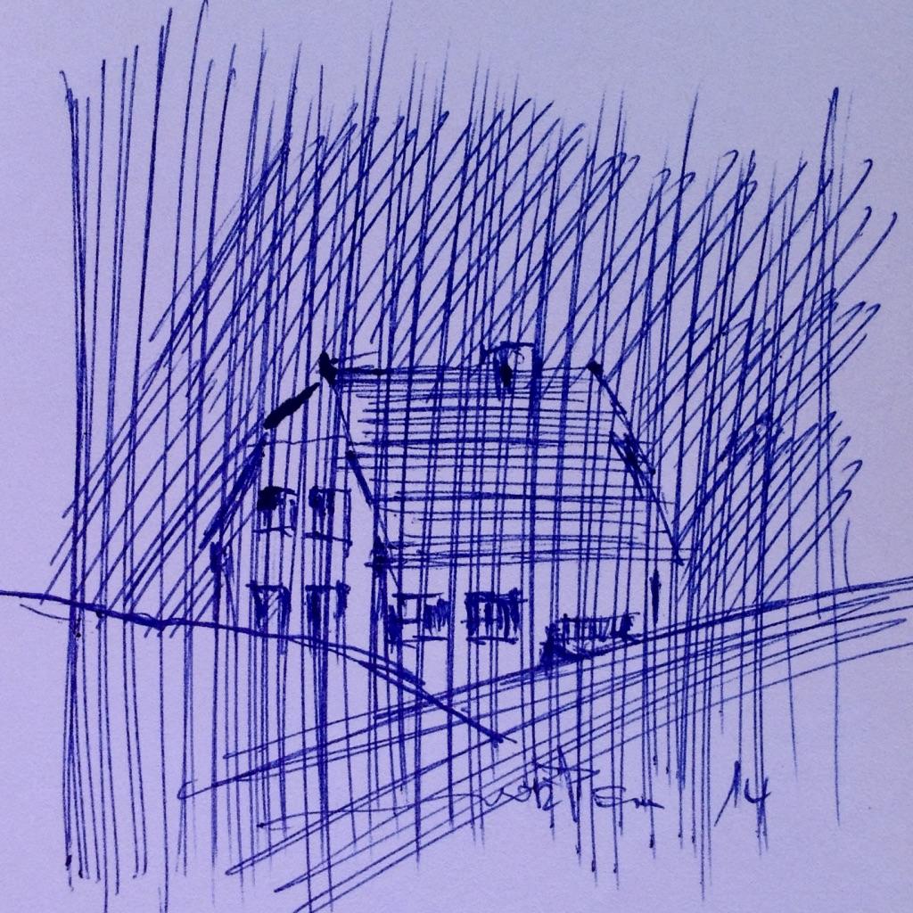 Greetsiel Zyklus: Haus hinter dem Deich,  15x21cm, 2014