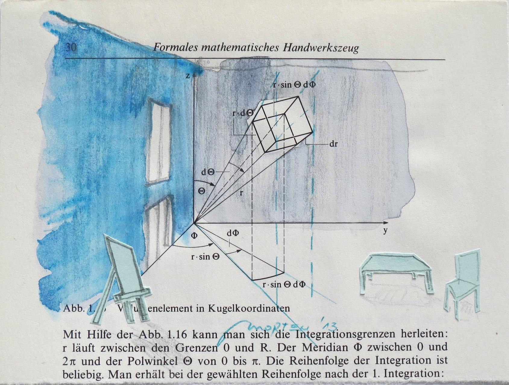 ATELIER, 2013, Johannes Morten, 10,5 x 14,8 cm, Pappe, Acryl, Graphit auf Buchseite