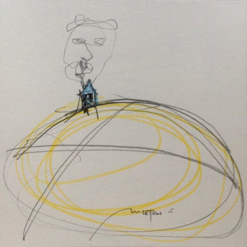DIE WELT STEHT AUF MIT EUCH: GÖTTER - RAINER M. RILKE, 2015, Johannes Morten, 20 x 20 cm, Graphit und Aquarell auf Papier