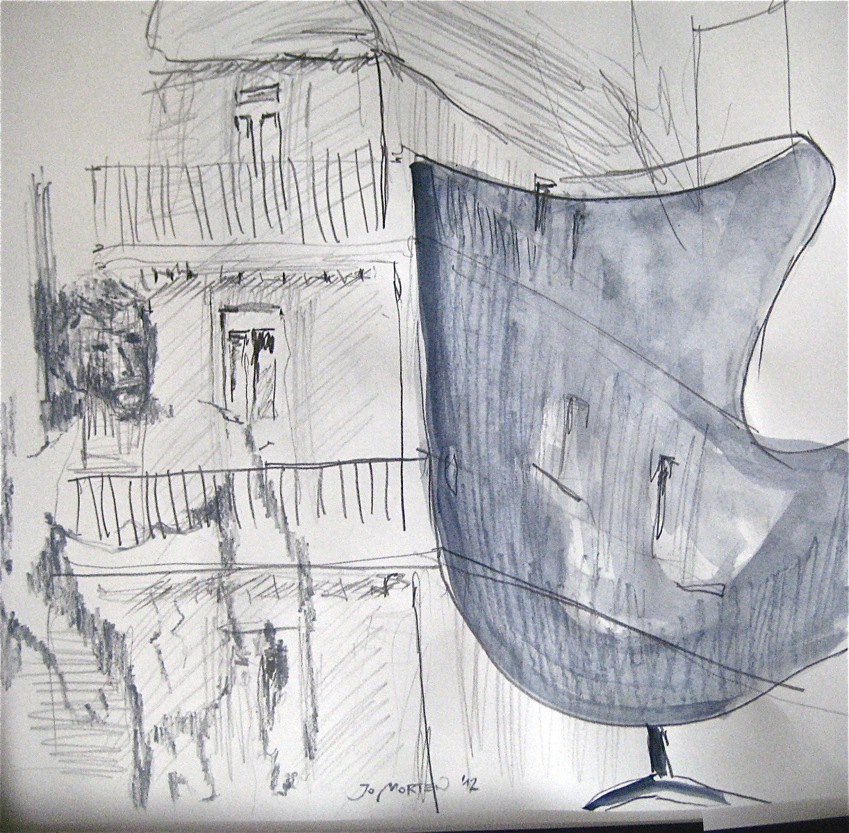 Betrachtet Zyklus: Die Zeit in Paris, Mischtechnik, 40x40cm, 2012
