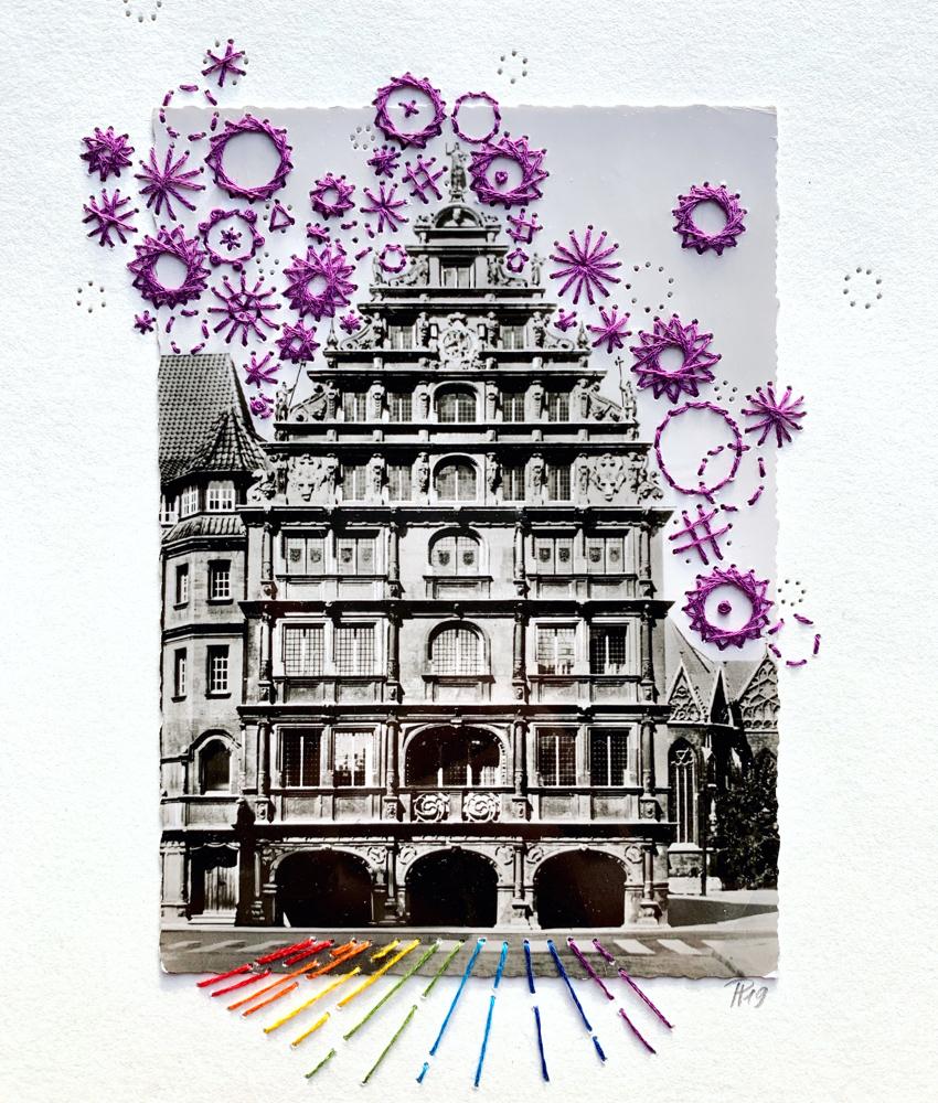 """""""purple fireworks"""", 18cm x 24cm (Postkarte 10,5cm x 14,5cm)"""