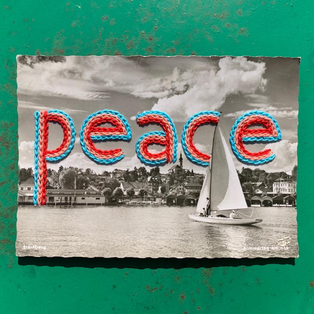 """peace"", 14,6cm x 10,4cm, 100€"
