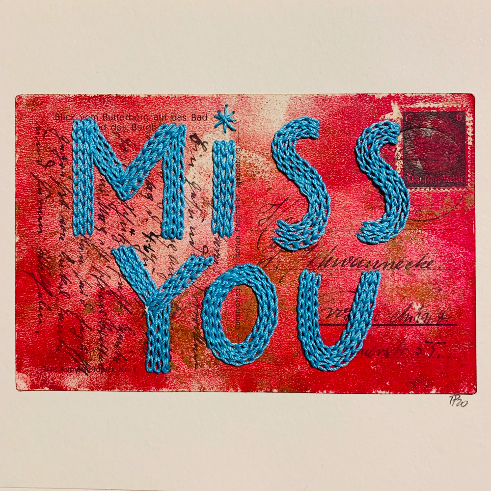 """miss you"", 20cm x 15cm (Postkarte 9cm x 14cm)"