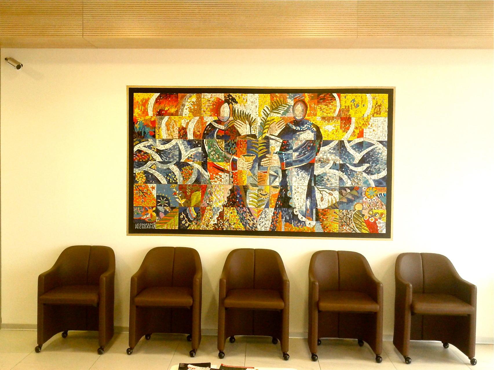 Santi Cosimo e Damiano, 2014, mosaico in vetri e marmi, 235 x 139 cm (IBSA Italia, Lodi, Italia)