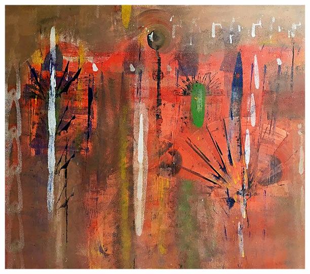 Vibrazioni e intermittenze, 2015, tecnica mista, 82 x 92 cm