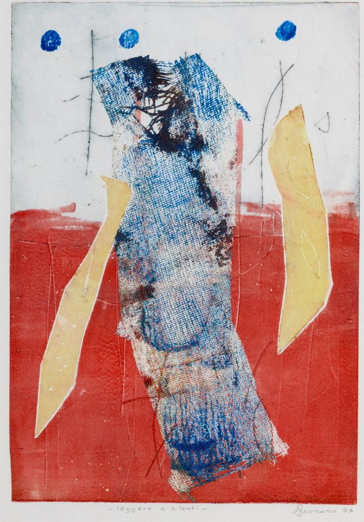 Leggere e silenti, 2007, calcografia a olio, 18 x 26 cm