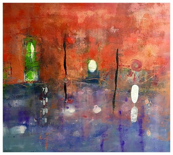 Rosso di un viaggio, 2014, olio, 90 x 81 cm