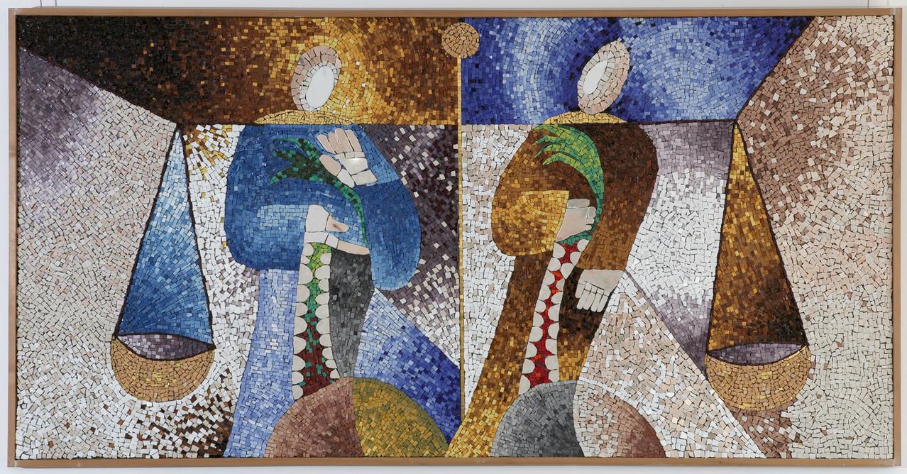 Santi Cosimo e Damiano, 1999, mosaico in vetro e pietre naturali, 180 x 120 cm (IBSA, Noranco - CH)