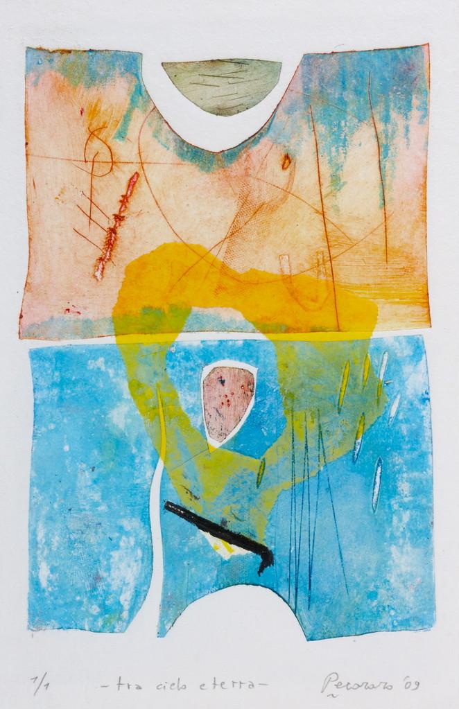 Tra cielo e terra, 2009, calcografia a olio, 25 x 36 cm
