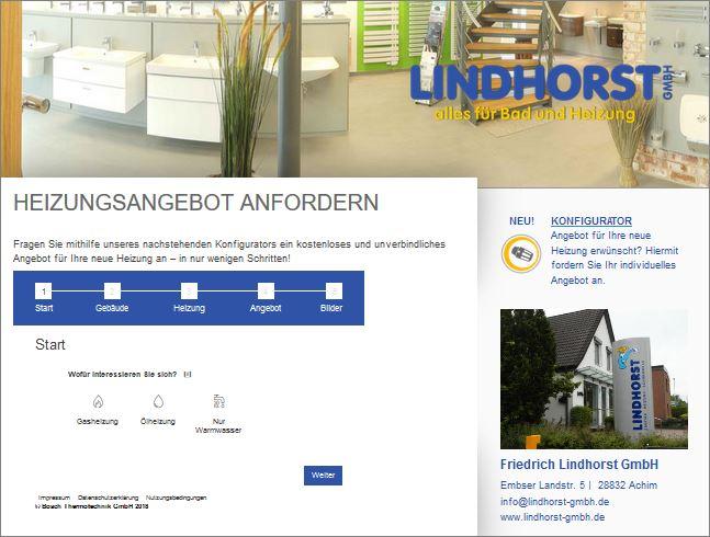Screenshot Heizungsangebotskonfigurator Friedrich Lindhorst GmbH