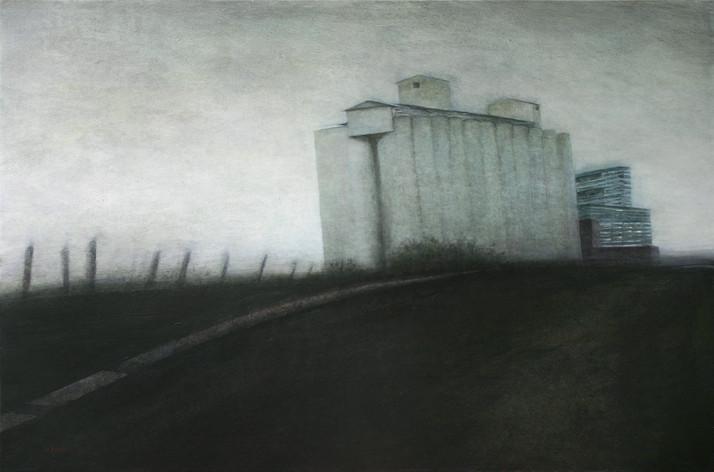 silo de Montmirail - acrylique sur bois - 40x61 cm - 2009 - M.Pavlïn