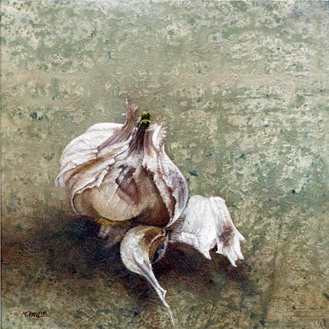 Gousse d'ail - acrylique sur bois - 22,5x22,5 cm - 2007 - M.Pavlïn