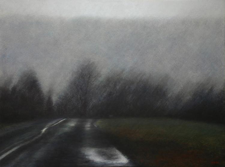 Un soir soulevant la pluie - acrylique sur bois - 60x80 cm - 2015 -  M.Pavlïn