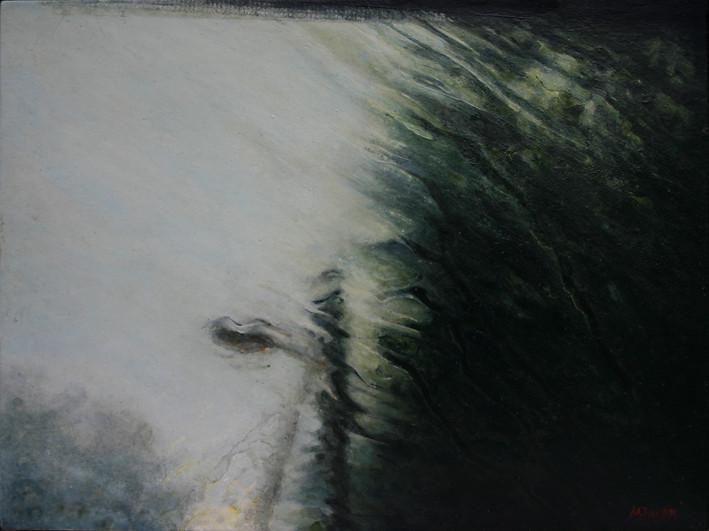 lampadaire, pluie sur pare-brise - acrylique sur bois - 20x26,5 cm - 2013 - M.Pavlïn