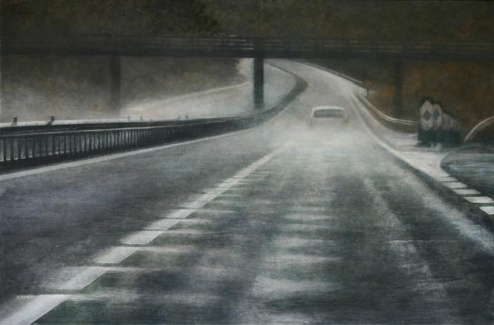 A10E05, pluie - acrylique sur bois - 40x61 cm - 2010 - M.Pavlïn
