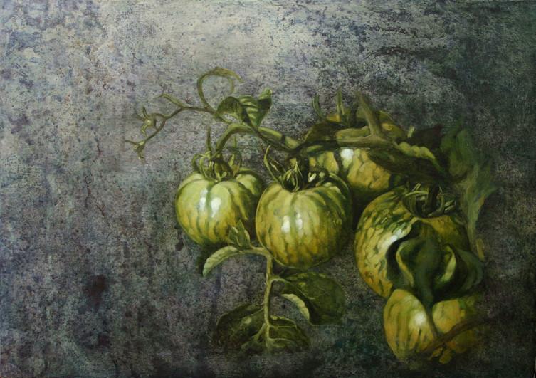 Tomates vertes - acrylique sur bois - 32x45,5 cm - 2005 - M.Pavlïn