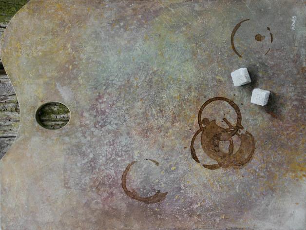 Palette - acrylique sur palette de peintre - 2007 - M.Pavlïn