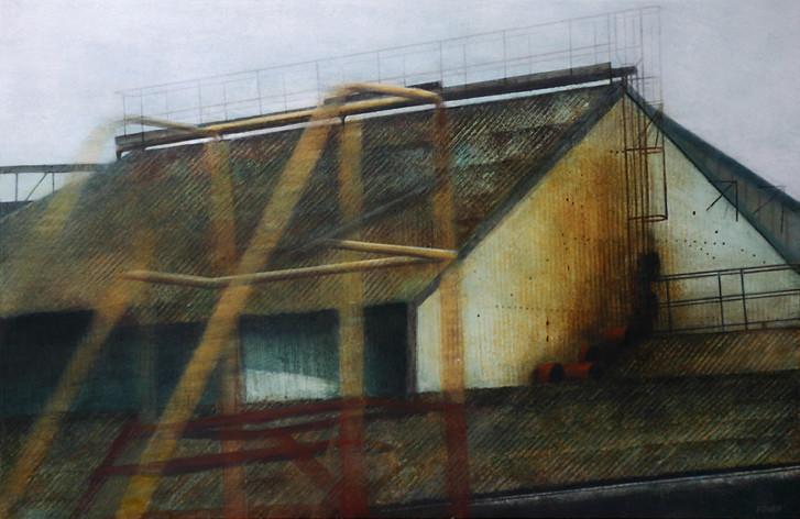 Hangar - acrylique sur bois - 40x61 cm - 2009 - M.Pavlïn