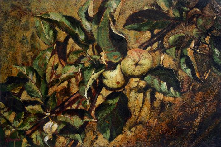 Branche de pommier - acrylique sur papier - 2009 - M.Pavlïn