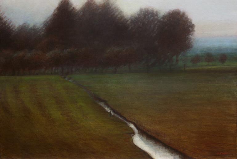 mijn vlakke land, polder - acrylique sur bois - 40x60 cm - 2015 - M.Pavlïn