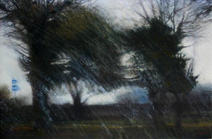 Aire sur A39, traces d'essui-glace - acrylique sur bois - 16,5x23 cm - 2013 - M.Pavlïn