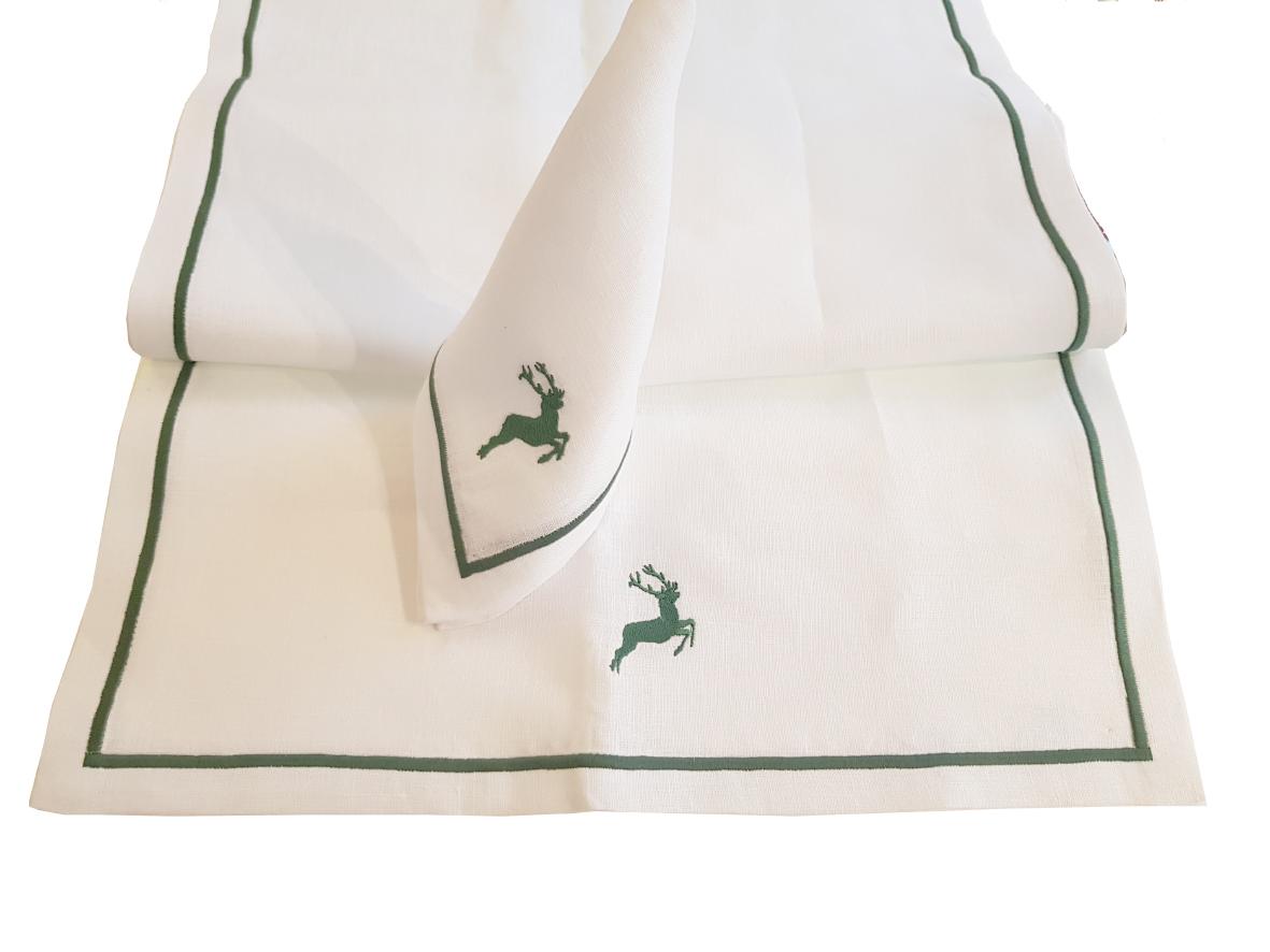 Tischläufer Weiß/Hirschgrün