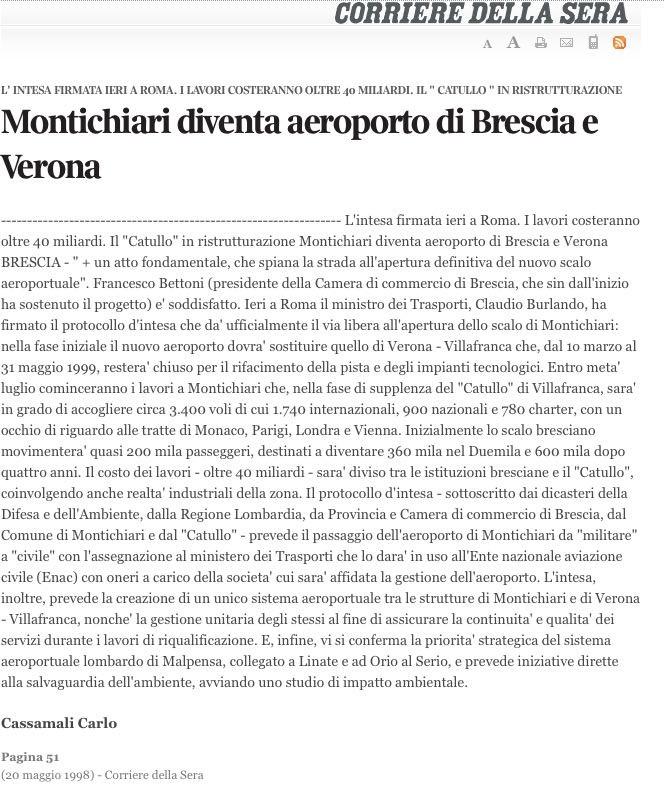 Dal Corriere della Sera del 20 maggio 1998: annuncio dell'accordo sull'utilizzo di Montichiari