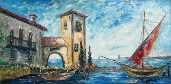 Italienische Küste  (Öl auf Leinwand)