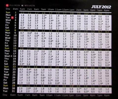 2012年7月バリ島タイドチャート